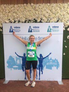 Lauren celebrates her Marathon run